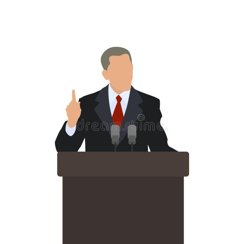 O homem no político do pódio aponta o dedo acima ilustração royalty free