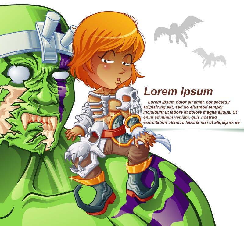 O homem no terno da armadura do monstro está sentando-se no ombro do gigante ilustração stock