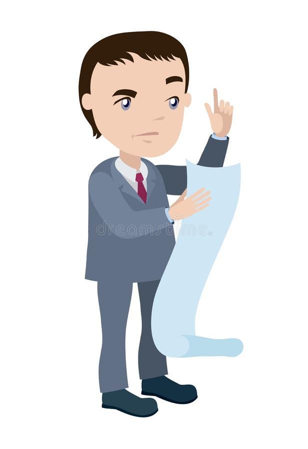 O homem no terno de negócio lê a lista enorme ilustração do vetor