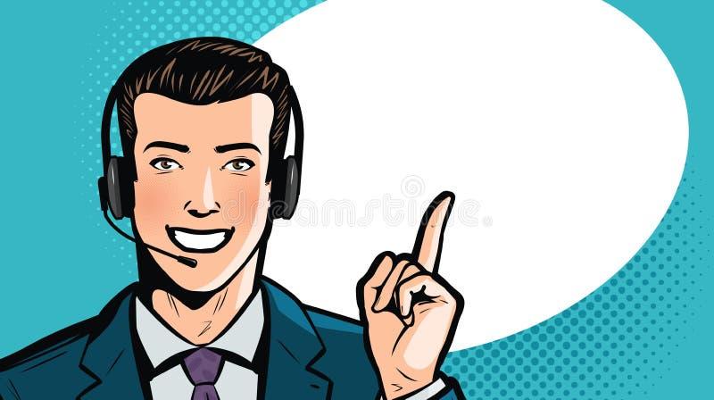 O homem no terno ou no homem de negócios de negócio com auriculares diz Centro de atendimento, apoio, conceito do serviço Ilustra ilustração stock