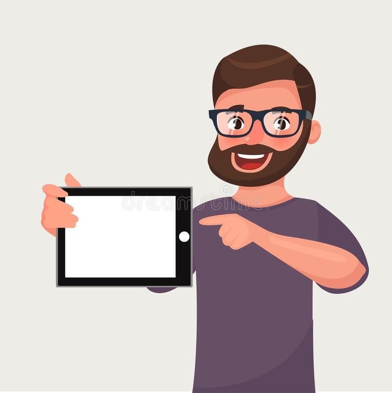 O homem nos vidros com barba est? mostrando o PC da tabuleta Povos e dispositivos ilustração royalty free