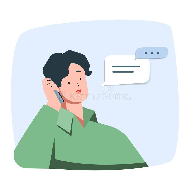 O homem novo é fala de sorriso no telefone, ilustração do caráter do vetor ilustração royalty free