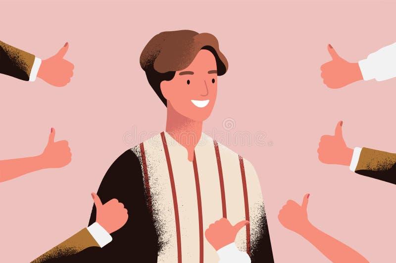 O homem novo alegre cercado pelas mãos que demonstram os polegares levanta o gesto Conceito da aprovação pública, opinião positiv ilustração stock