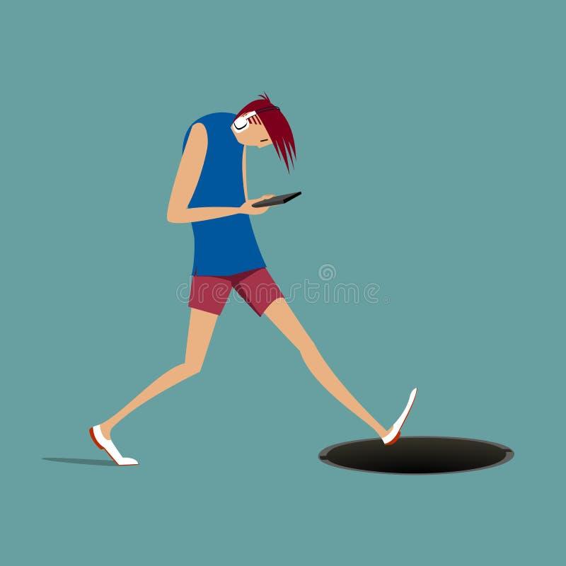 O homem novo com telefone e fones de ouvido que anda e cairá no poço ilustração stock