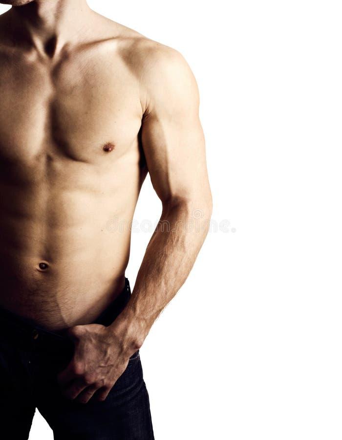 O homem novo com torso despido fotografia de stock