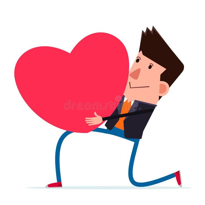 O homem novo confessa seu sentimento à mulher que ama ilustração do vetor