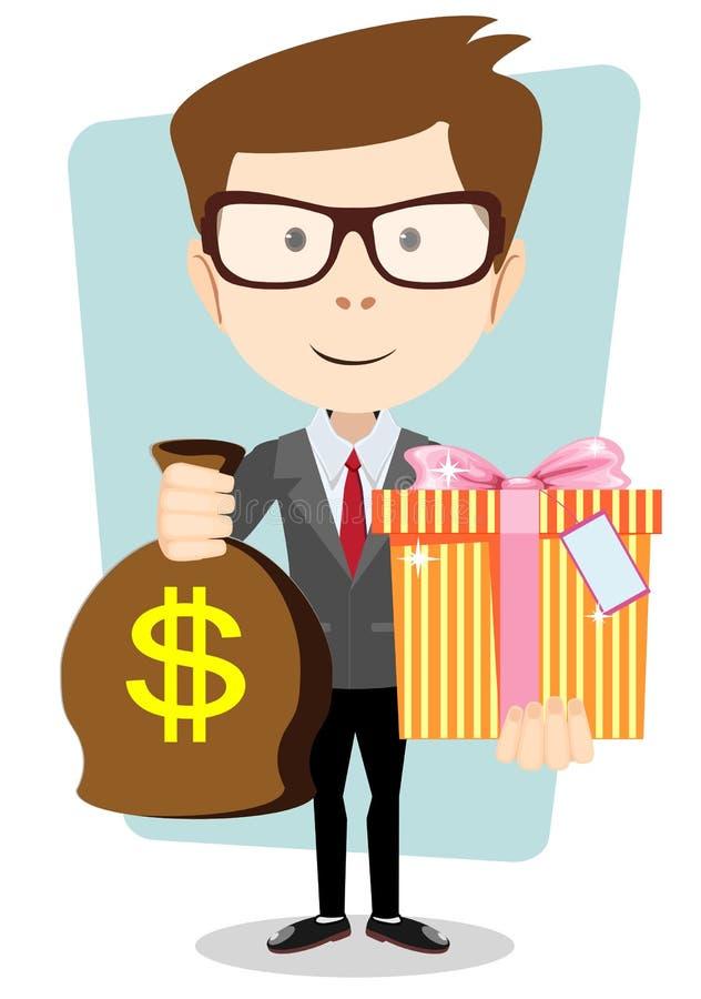 O homem novo dá um saco com dólares e presente, ilustração stock