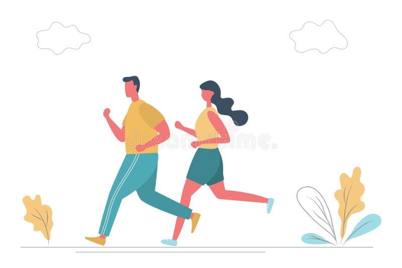 O homem novo e a jovem mulher no sportswear estão correndo ao longo da estrada no parque ilustração stock