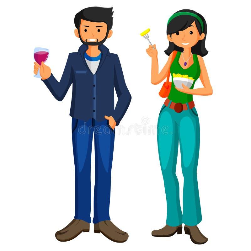O homem novo e a menina comem o fast food no projeto liso ilustração stock