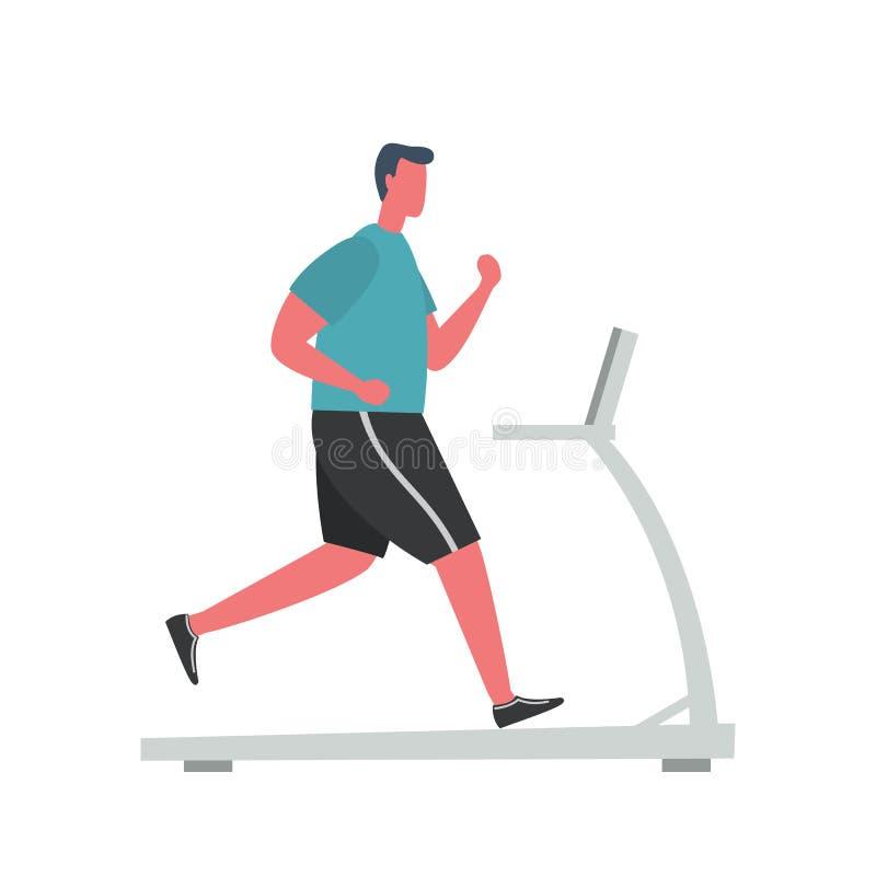 O homem novo em um uniforme desportivo está correndo em uma escada rolante Estilo liso engra?ado ilustração royalty free