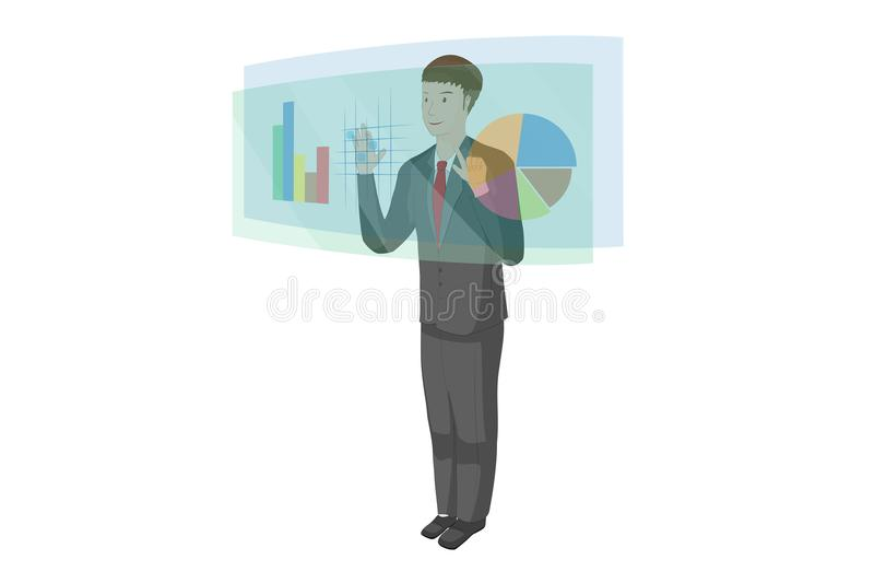 O homem novo está usando uma tecnologia do holograma e a tela tocante tem uns dados da carta do gráfico ilustração do vetor