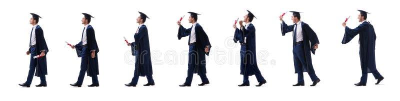 O homem novo feliz com sua gradua??o isolada no branco fotos de stock royalty free