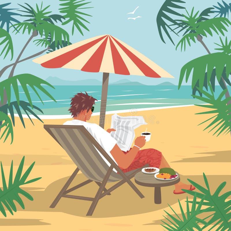 O homem novo lê o jornal na praia tropical ilustração do vetor