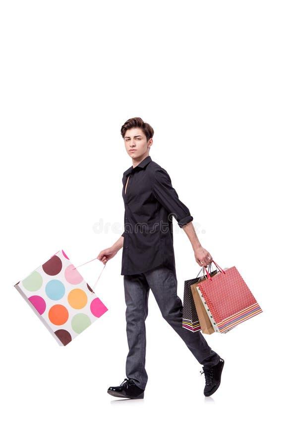 O homem novo no conceito da compra isolado no branco fotografia de stock