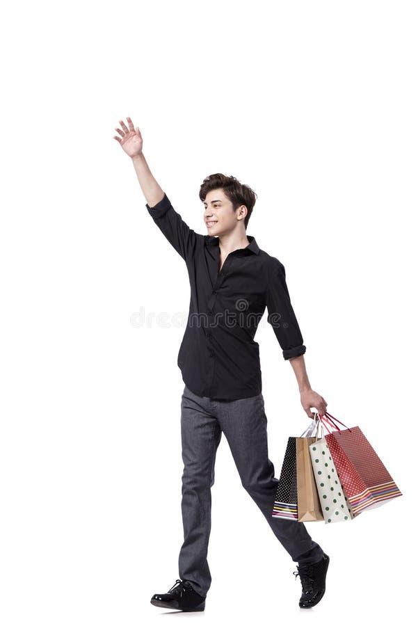 O homem novo no conceito da compra isolado no branco fotografia de stock royalty free