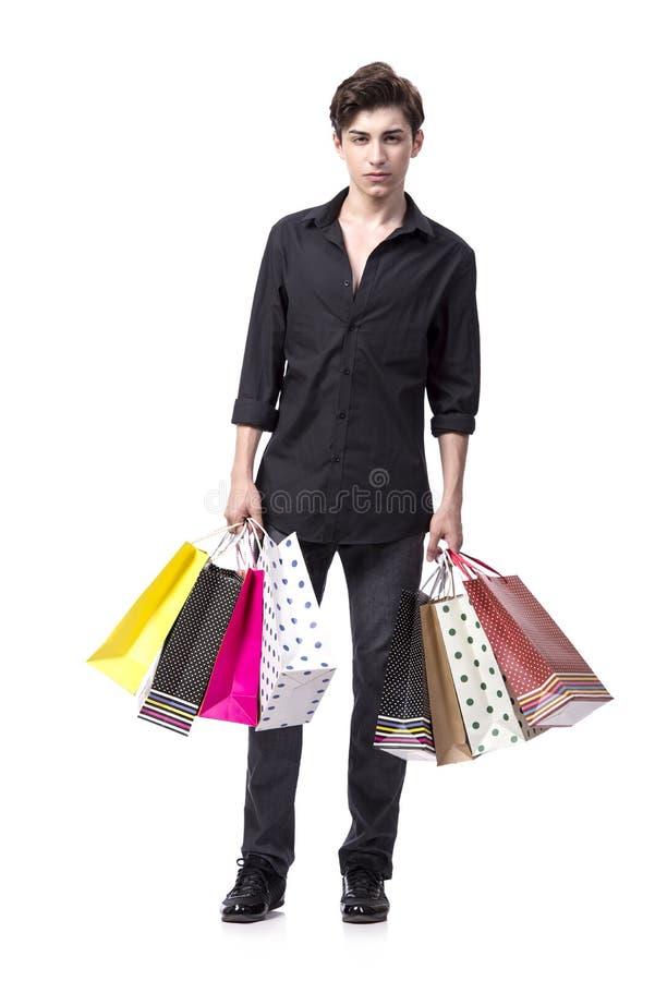 O homem novo no conceito da compra isolado no branco imagens de stock royalty free