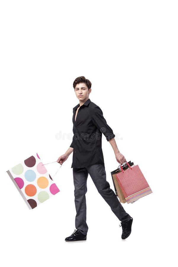 O homem novo no conceito da compra isolado no branco foto de stock royalty free
