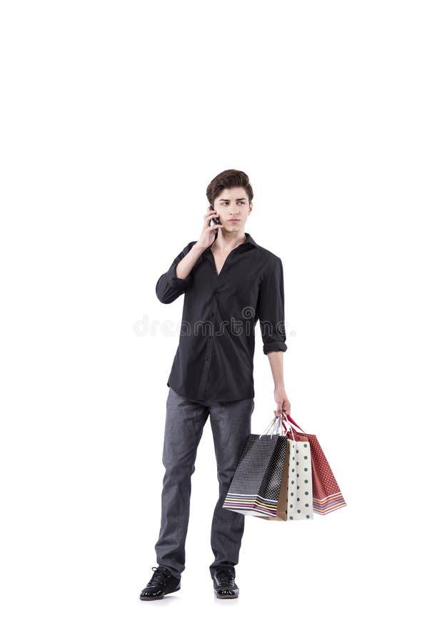O homem novo no conceito da compra isolado no branco imagens de stock