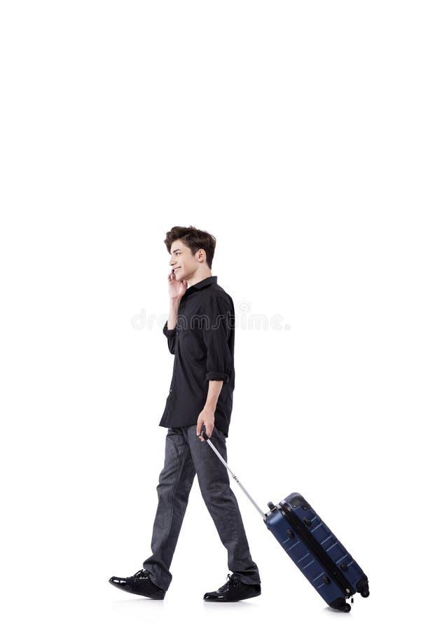 O homem novo no conceito do curso isolado no branco fotos de stock