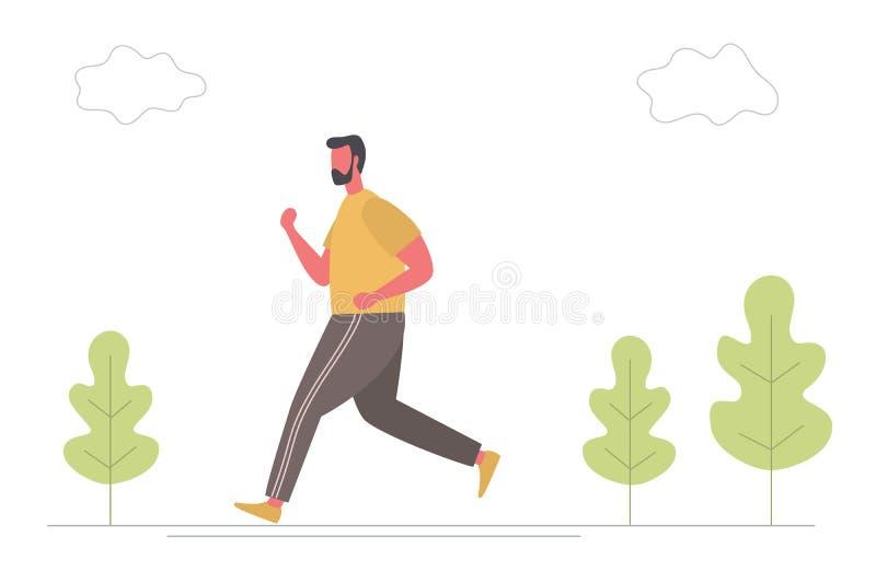 O homem novo no sportswear está correndo ao longo da estrada no parque ilustração stock