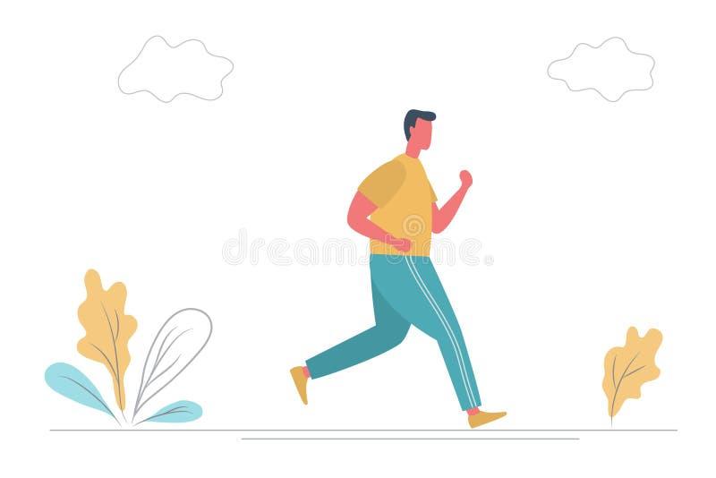 O homem novo no sportswear est? correndo ao longo da estrada no parque Estilo liso engraçado ilustração royalty free