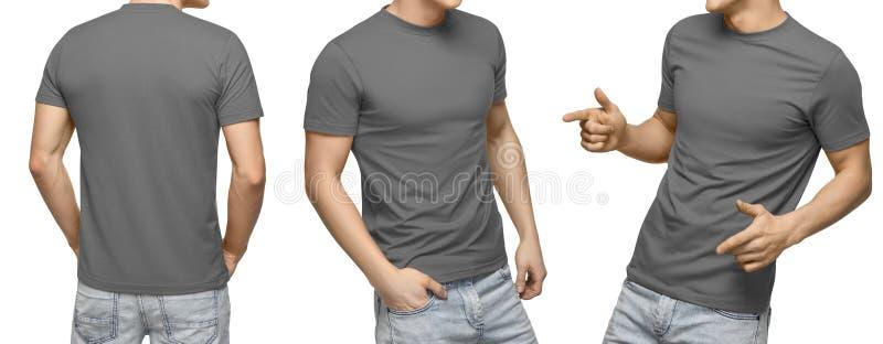O homem novo no t-shirt cinzento vazio, parte dianteira e vista traseira, isolou o fundo branco Projete o molde e o modelo do tsh foto de stock royalty free