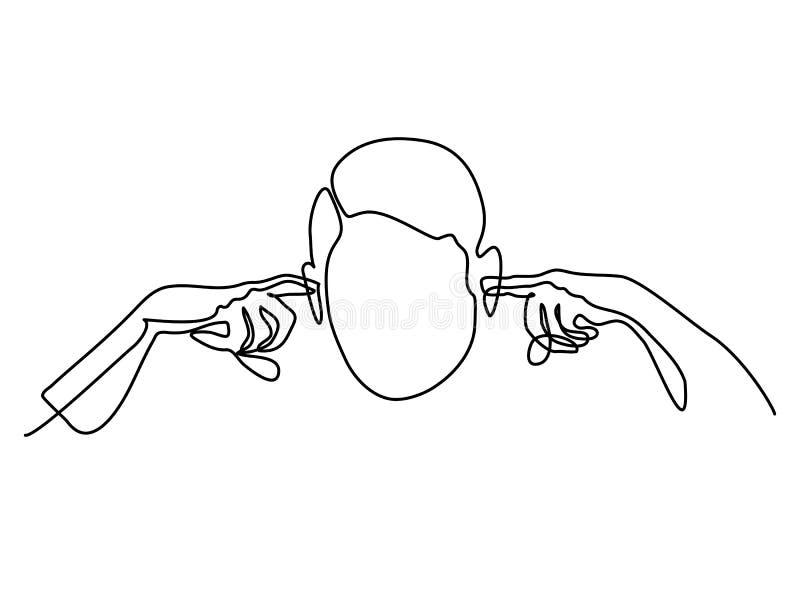 O homem obstruiu suas orelhas com dedos ilustração do vetor