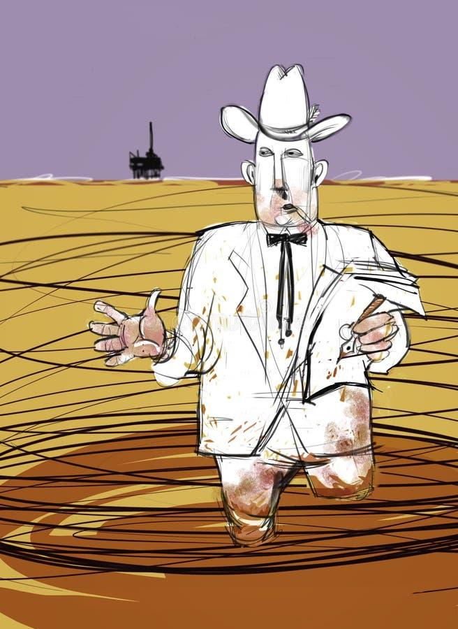 O homem oleoso do petróleo explica o derramamento de petróleo a pouca distância do mar ilustração do vetor