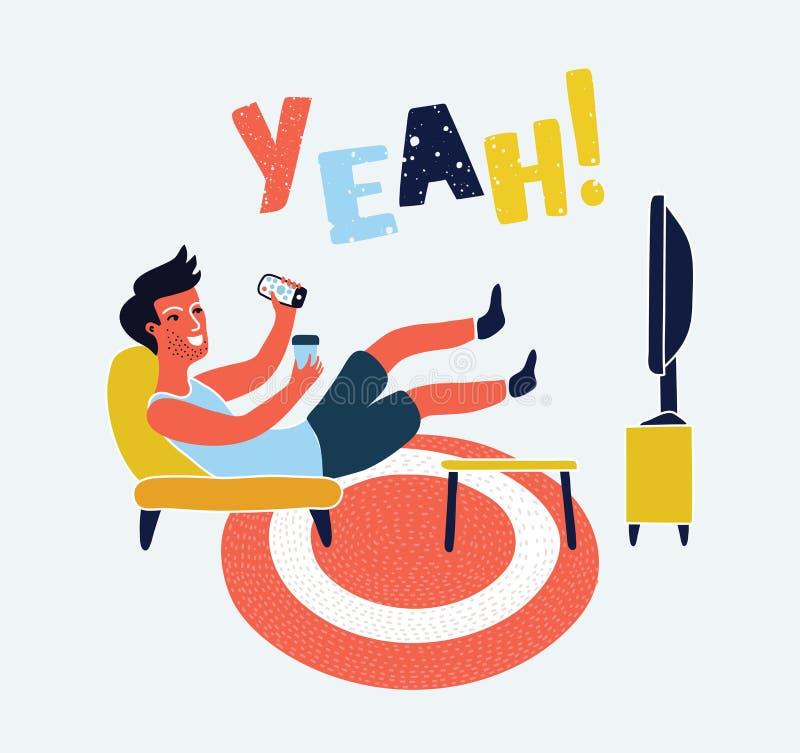 O homem olha a tevê no sofá com ilustração do vetor do copo de café O café de observação da tevê e da bebida, relaxa em casa no s ilustração do vetor