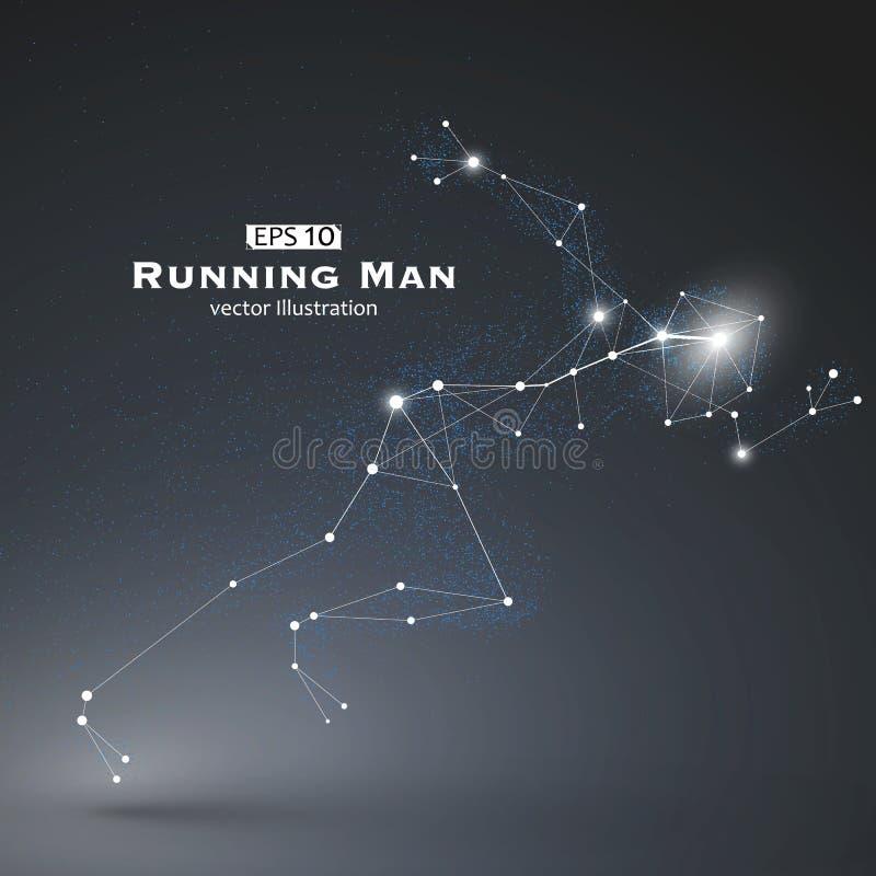 O homem, os pontos e as linhas running conectaram junto, um sentido da ciência e tecnologia ilustração do vetor