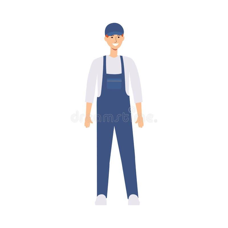 O homem ou o trabalhador de entrega no uniforme e em um tampão estão na vista dianteira ilustração stock