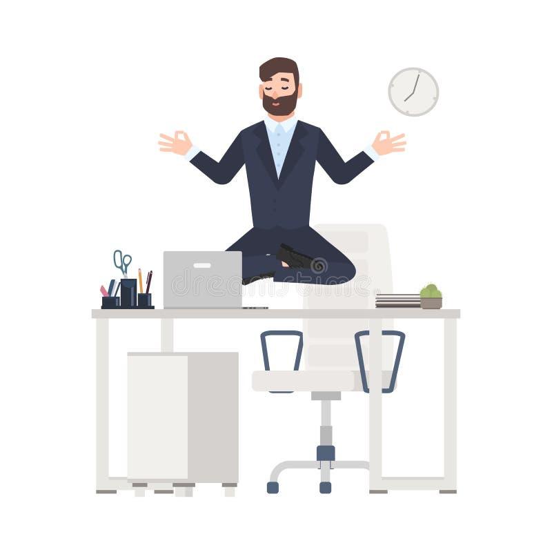 O homem ou o trabalhador de escritório farpado vestido no assento do terno de negócio cruzaram os pés, levitando sobre sua mesa d ilustração do vetor