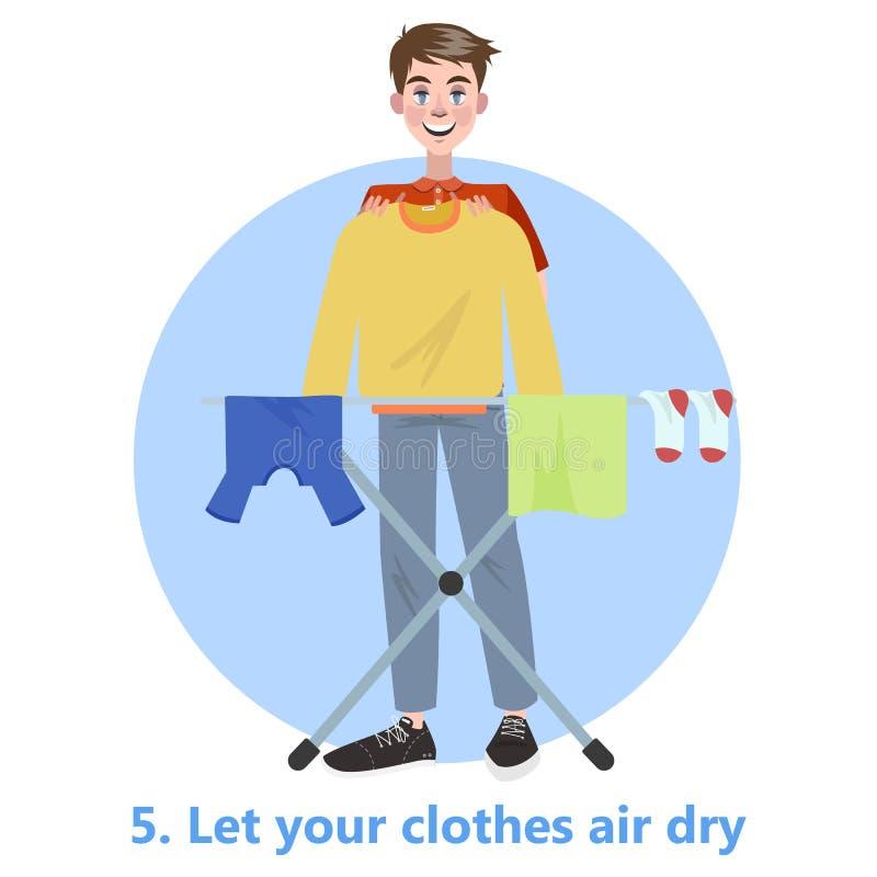 O homem pôs sua roupa para secar na corda ilustração stock