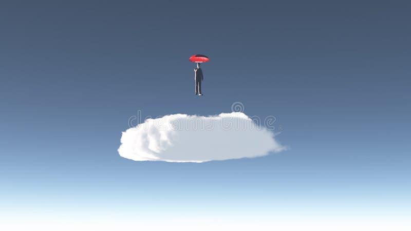 O homem paira acima da nuvem ilustração royalty free