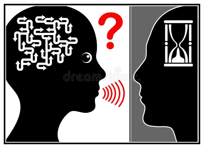 O homem para de escutar ilustração do vetor