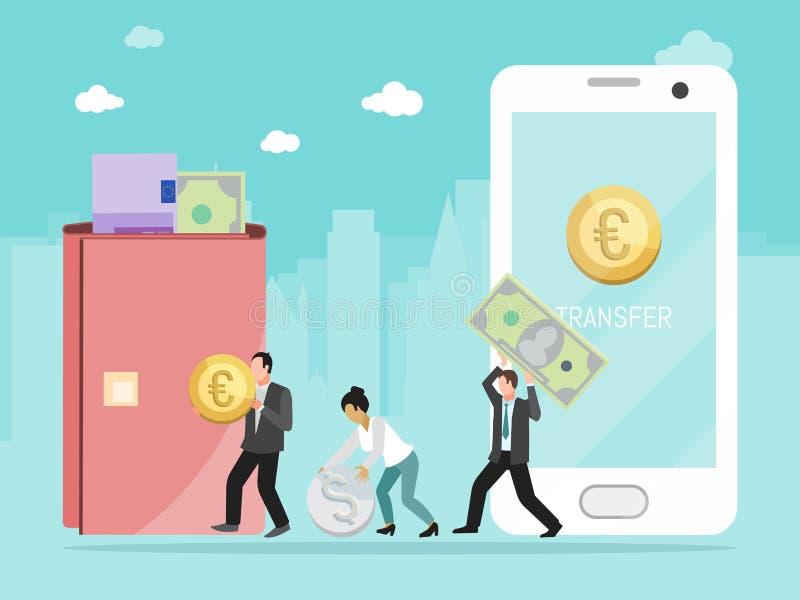 O homem passa o dinheiro da mulher através da ilustração em linha do vetor do conceito de transferência de dinheiro do smartphone ilustração stock