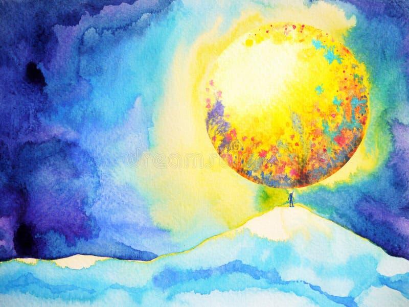 O homem pequeno entrega acima do travamento, alcançando a lua grande, pintura da aquarela ilustração royalty free