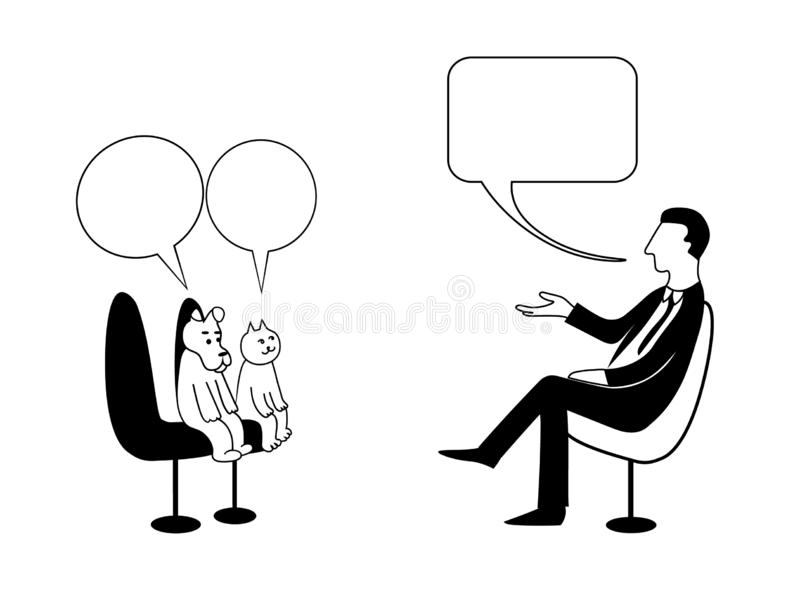 O homem pergunta ao cão e gato nas bolhas Sentam-se e falar Imagem do desenho do contorno do vetor ilustração do vetor