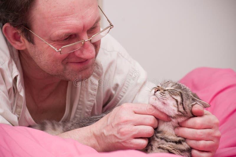 O homem pets um gato cinzento Escocês-reto foto de stock