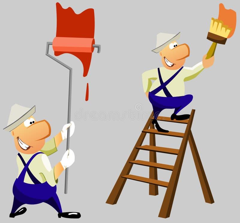 O homem pinta a parede. Reparo da casa. ilustração do vetor