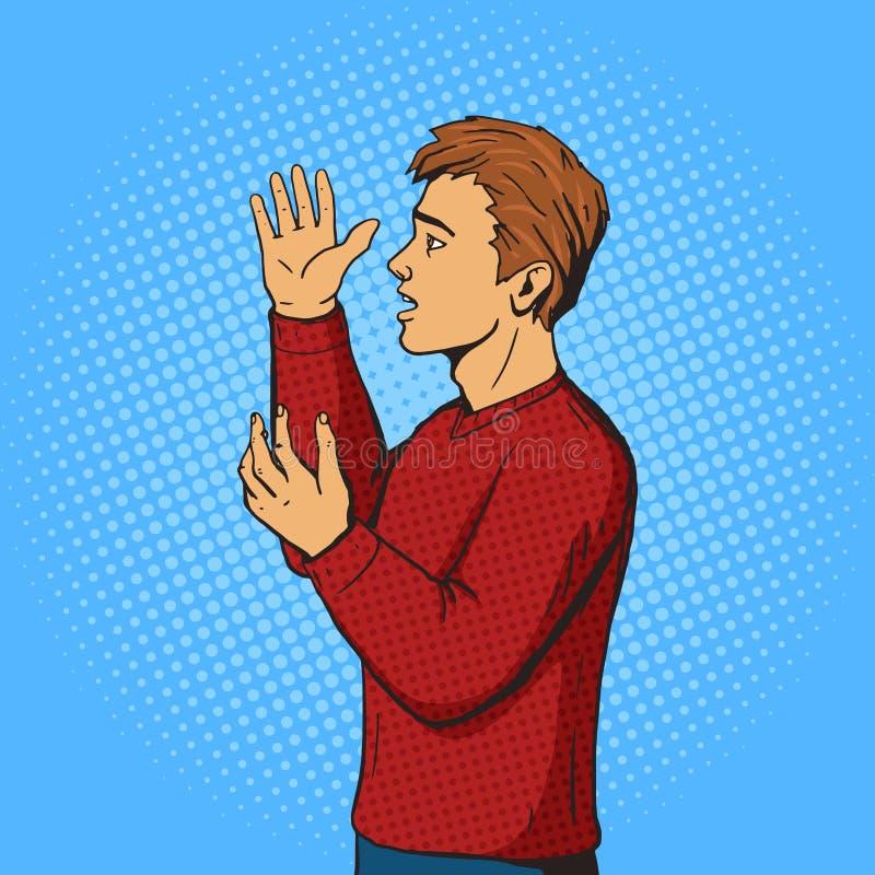 O homem que gesticula e discute o vetor do pop art ilustração do vetor