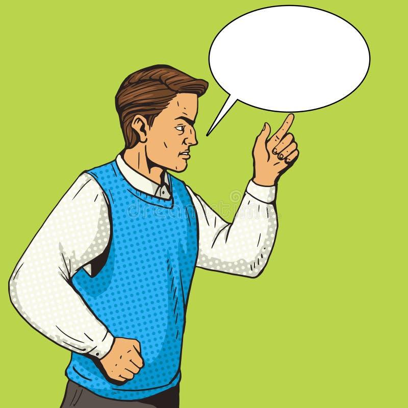O homem que gesticula e discute o vetor do pop art ilustração stock