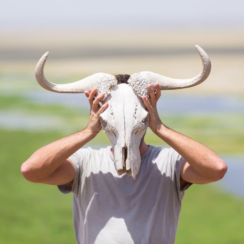 O homem que guarda um crânio branco do gnu que veste o gosta de uma máscara na natureza no safari africano dos animais selvagens fotos de stock