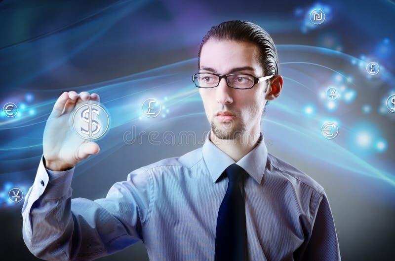 O homem que pressiona o dólar assina dentro o conceito da finança fotografia de stock royalty free