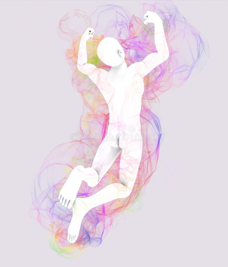 O homem que salta com aura ilustração do vetor