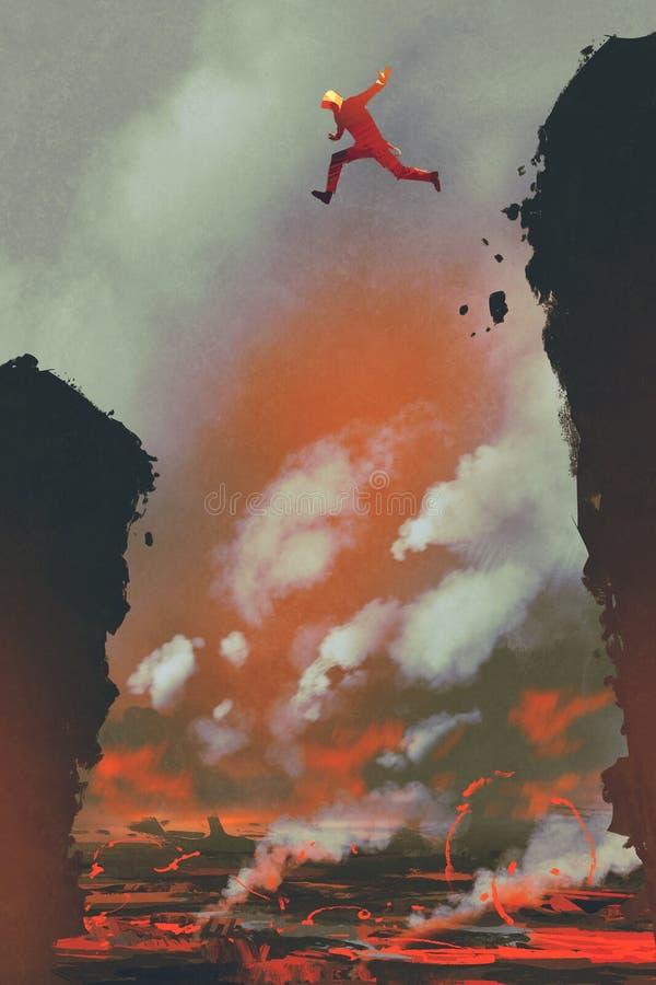 O homem que salta no penhasco ilustração stock