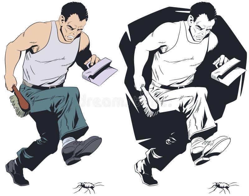 O homem quer esmagar a barata Ilustra??o conservada em estoque ilustração stock