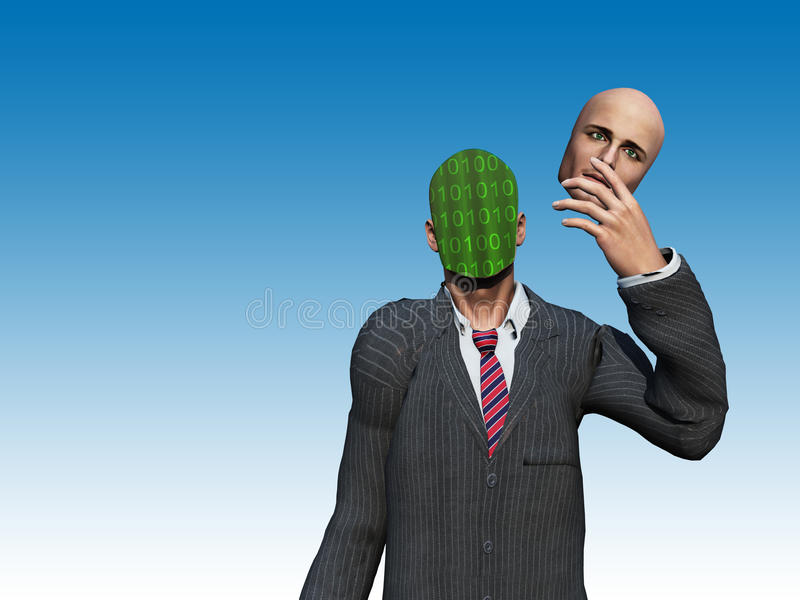 O homem remove a face para revelar o binário