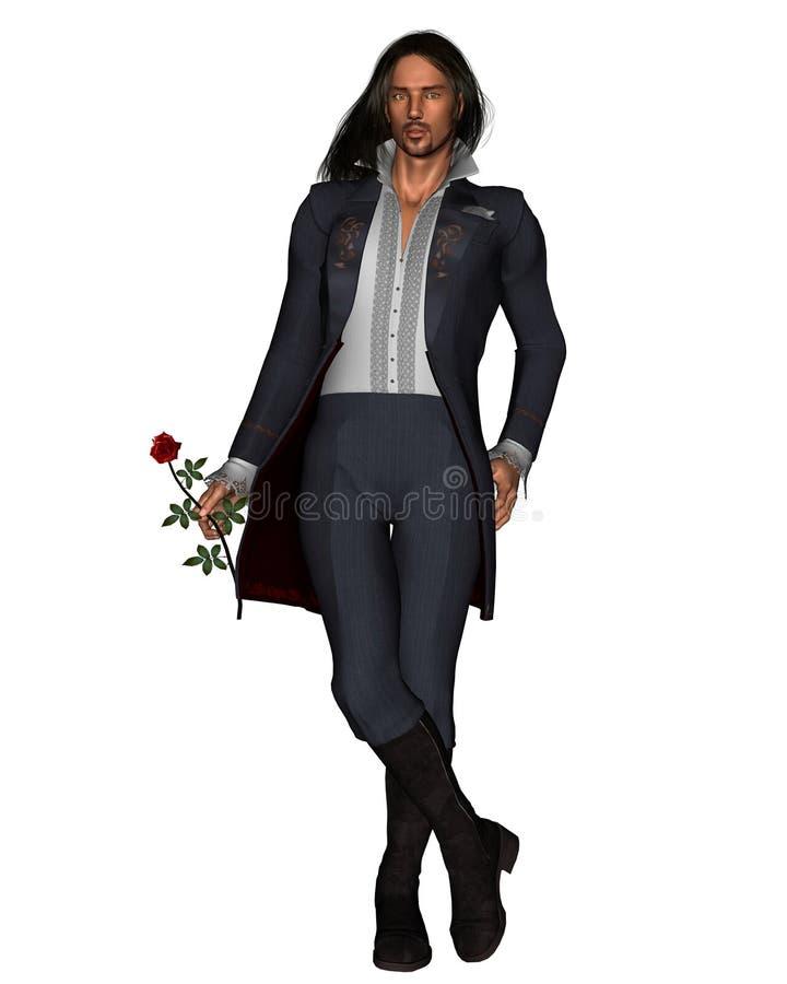 O homem romântico com levantou-se - 1 ilustração royalty free