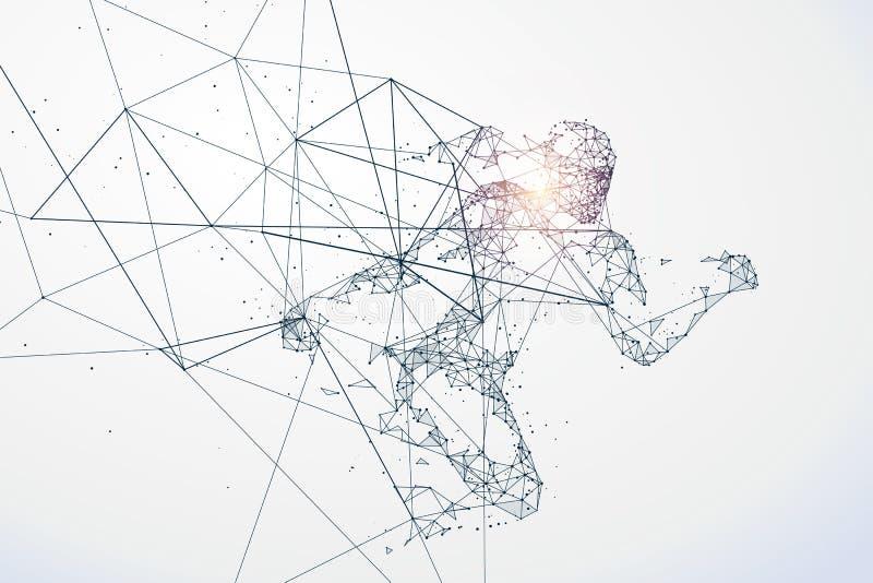 O homem running, conexão de rede transformou em ilustração do vetor